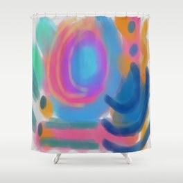Colorful Abstract Digital Painting Shower Curtain