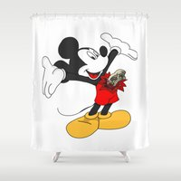mickey Shower Curtains featuring Mickey passenger by flydesign