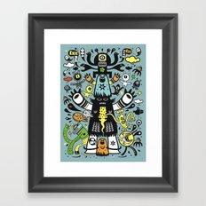 Guru Cat (blue time) Framed Art Print