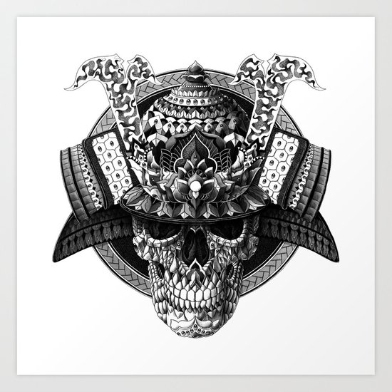 Samurai Skull Art Print by BIOWORKZ | Society6