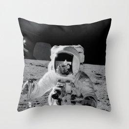 Apollo 12 - Face Of An Astronaut Moon Selfie Throw Pillow