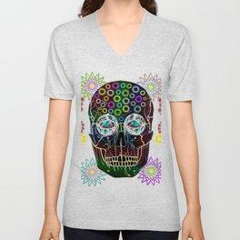 skull neon flowers Unisex V-Neck