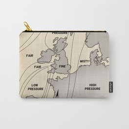 British Isles vintage weather map poster Carry-All Pouch