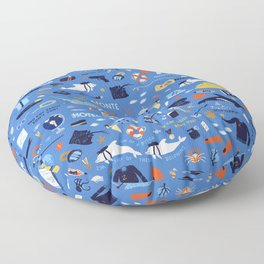 Life Aquatic Plot Pattern Floor Pillow