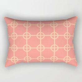 Midcentury Desert Lattice in Hot Coral + Sand Rectangular Pillow