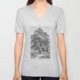 Linden Tree Print from 1800's Encyclopedia Unisex V-Neck