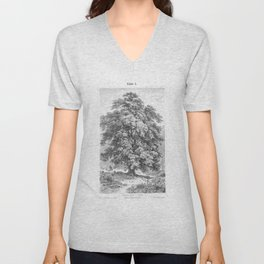Linden Tree Print from 1800's Encyclopedia Unisex V-Neck