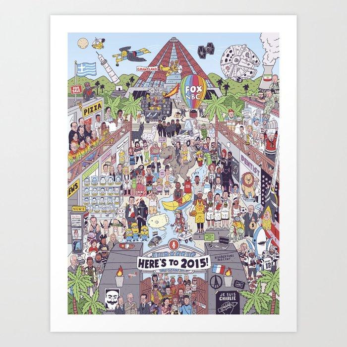2015 Mashup Illustration of News and Pop Culture Art Print
