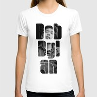 woodstock T-shirts featuring Bob Dylan Font Black And White by Fligo