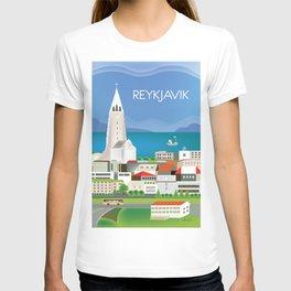 Reykjavik, Iceland - Skyline Illustration by Loose Petals T-shirt