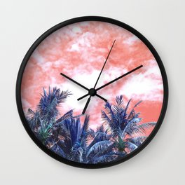 Surreal Wild and Free Palm Trees - Coral & Blue Wall Clock