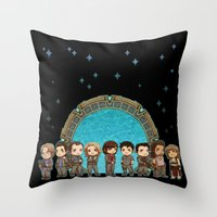 stargate Throw Pillows featuring Cast of Stargate Atlantis by Ravenno