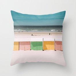 Beach Cabins North Sea Throw Pillow