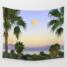 Palms on Full Moon Wall Tapestry