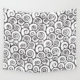 Modern Black and White Abstract Swirly Pattern Wall Tapestry