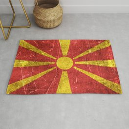 Vintage Aged and Scratched Macedonian Flag Rug