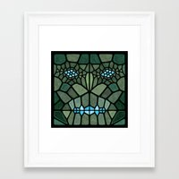 kaiju Framed Art Prints featuring Kaiju Voronoi by Enrique Valles