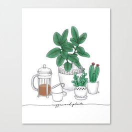 Coffee and Plants Canvas Print