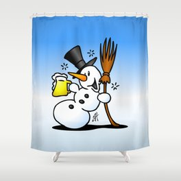 Snowman drinking a beer Shower Curtain