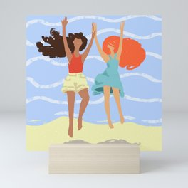 Series: Oil Paint Smears. Summer, sea, friendship. Mini Art Print