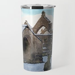 snow covered ruined church Travel Mug