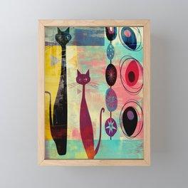 Mid-Century Modern 2 Cats - Graffiti Style Framed Mini Art Print