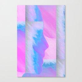 Pink Sky//Blue Face Canvas Print