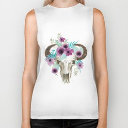 This boho bull skull, features a crown of bright flowers! Biker Tank