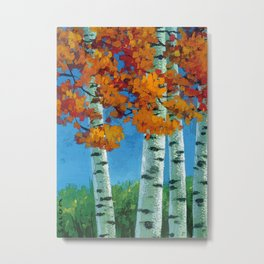 Poplars in autumn Metal Print