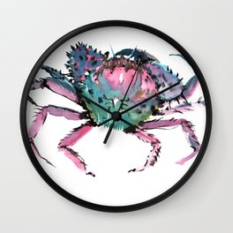 Crab Turquoise Blue Pink Crab Design Wall Clock