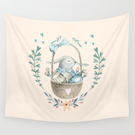 Cute Baby Bunny In a Basket Wall Tapestry