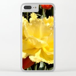 Happy Yellow Tulip Clear iPhone Case