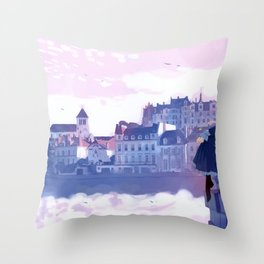Cute Anime Girl Sitting On Castle Wall Enjoying Beautiful View Scenery Ultra High Defintion Throw Pillow