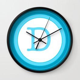 Blue letter D Wall Clock