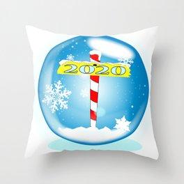 North Pole Winter Globe Christmas 2020 Throw Pillow
