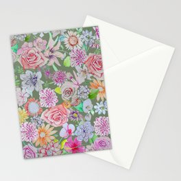 set of pink, violet and orange flowers on gray background Stationery Cards