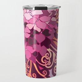 zentangle inspired Hortensia_rose pink doodle Travel Mug