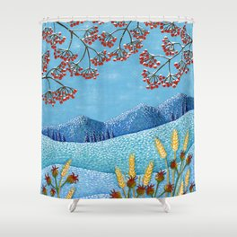 Winter Mountain Colorful Fields Shower Curtain