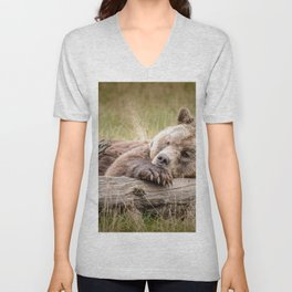 Big Beautiful Grizzly Bear Relaxing In Green Meadow Close Up Ultra HD Unisex V-Neck