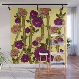 CORAL & WINE RED ROSES & GREEN CANES ON YELLOW Wall Mural