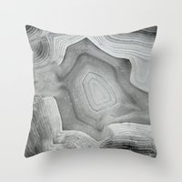 mineral Throw Pillows featuring MINERAL MONOCHROME by Catspaws