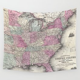 Vintage Map of The Eastern United States (1862) Wall Tapestry