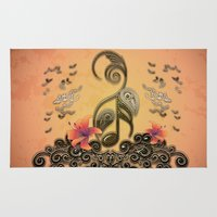 music notes Area & Throw Rugs featuring Key notes  by nicky2342