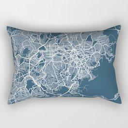 Belo Horizonte Blueprint Street Map, Belo Horizonte Colour Map Prints Rectangular Pillow
