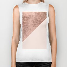Minimalist blush pink rose gold color block geometric Biker Tank