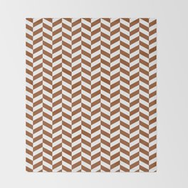 Brown Herringbone Pattern Throw Blanket