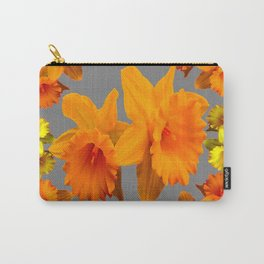 YELLOW-GOLD SPRING DAFFODILS & CHARCOAL GREY COLOR Carry-All Pouch