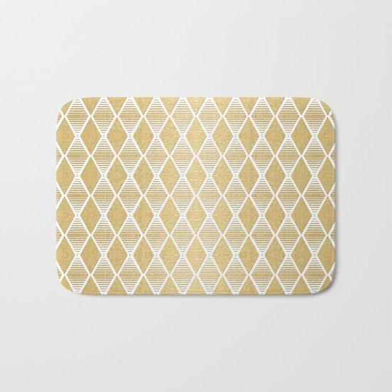 White and Gold Geometric Pattern Bath Mat