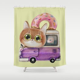 Cute cat driving a donut truck, well a van in fact Shower Curtain