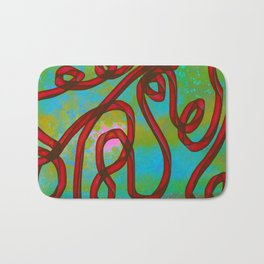 """Galactic Ribbon"" (Cherry/Lime) Digital Painting // Fine Art Print Bath Mat"